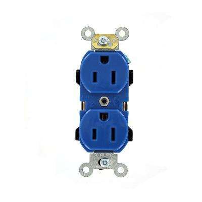 15 Amp Industrial Grade Heavy Duty Self Grounding Duplex Outlet, Blue