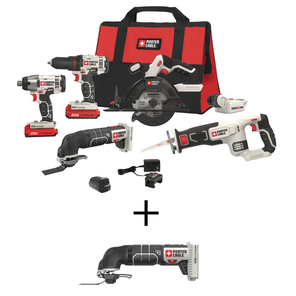 Porter-Cable 20-Volt MAX Lithium-Ion Cordless Combo Kit (6-Tool) with Free USB Charger and BONUS 20-Volt Oscillating Tool (Tool-Only)