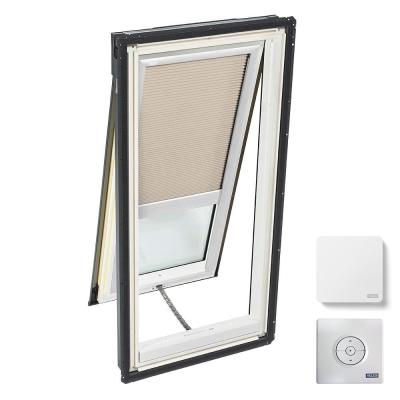 21 in. x 45-3/4 in. Venting Deck Mount Skylight, Laminated LowE3 Glass, Classic Sand Solar Powered Light Filtering Blind
