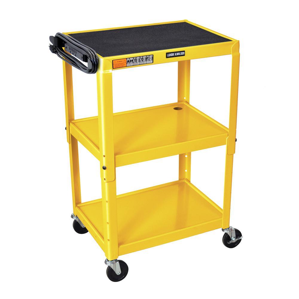 luxor Adjustable Height Steel 42 in. Utility Cart with El...
