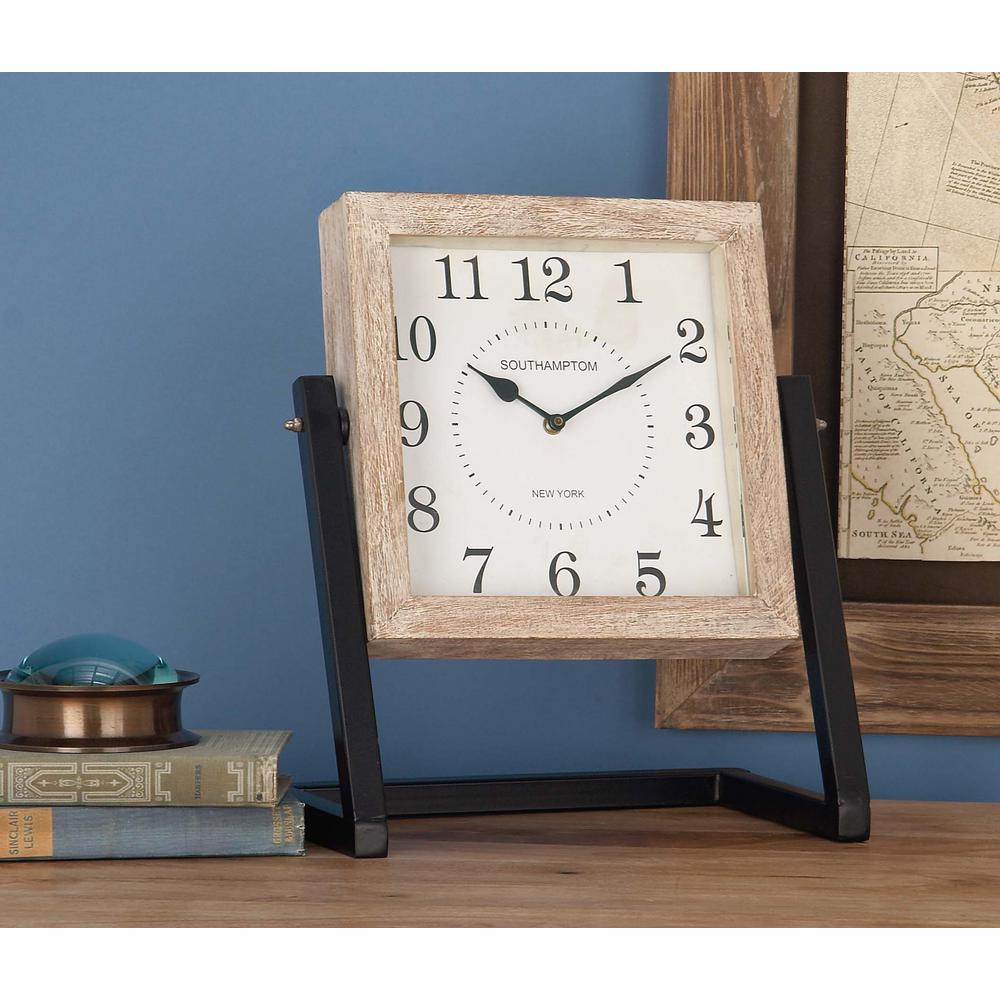 Rustic Wooden Square Table Clock With Swivel Stand