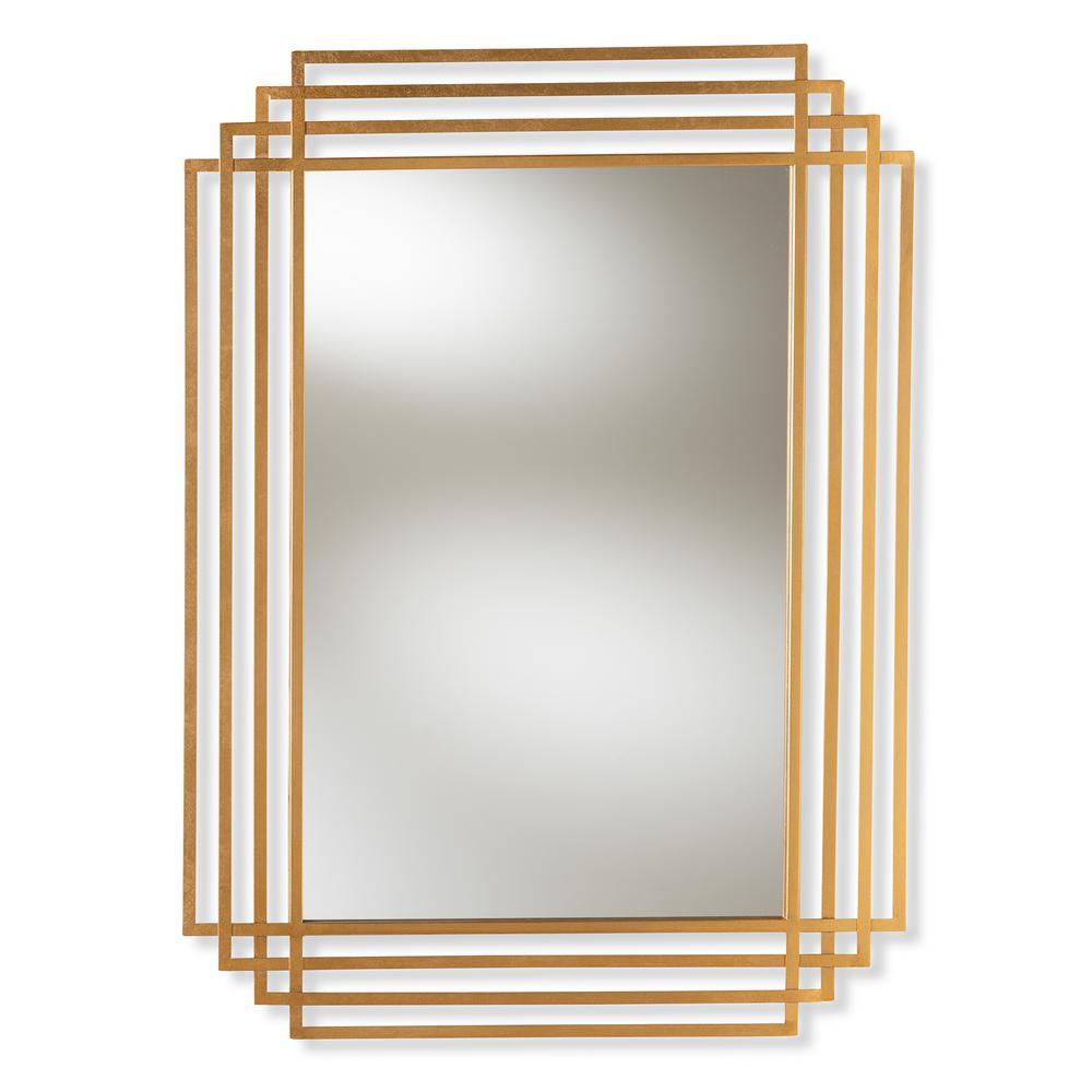 Baxton Studio Kalinda Antique Gold Wall Mirror 150 8871 Hd The Home Depot