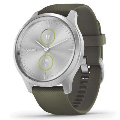 vívomove Style Hybrid Smart Watch in Silver Aluminum Case with Moss Silicone Band
