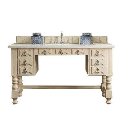 Castilian ADA 60 in. W Single Vanity in Vintage Vanilla with Soild Surface Vanity Top in Arctic Fall with White Basin