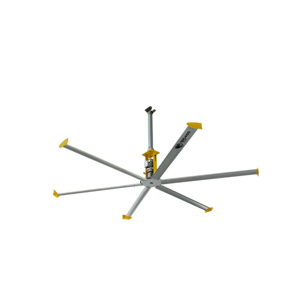 Big Ass Fans 4900 14 ft. Silver and Yellow Aluminum Shop Ceiling Fan