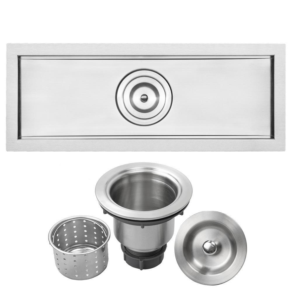 Bradford Undermount 16-Gauge Stainless Steel 22 in. Single Basin Kitchen and Bar Sink with Basket Strainer