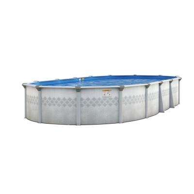 St. Lucia 16 ft. x 24 ft. 52 in. Deep Oval Above-Ground Pool Package with 7 in. Top Rail