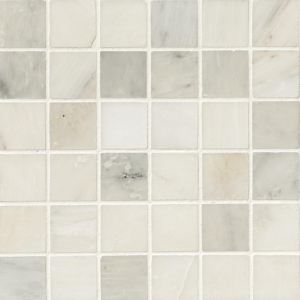 MSI Greecian White 12 in. x 12 in. x 10 mm Polished Marble Mesh-Mounted Mosaic Tile