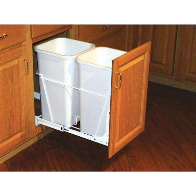 19.25 in. H x 11.81 in. W x 22.25 in. D Double 27 Qt. Pull-Out White Waste Containers with Full-Extension Slides