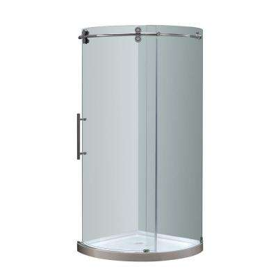 Orbitus 40 in. x 40 in. x 77-1/2 in. Completely Frameless Round Shower Enclosure in Chrome with Left Opening and Base