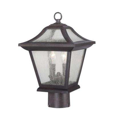 Aiken Collection 2-Light Outdoor Black Coral Post Lantern