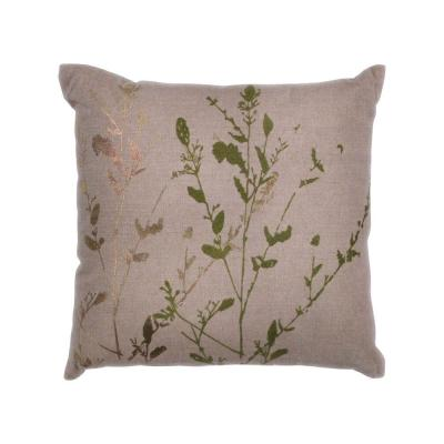 Foil Willow Natural Floral Hypoallergenic Polyester 18 in. x 18 in. Throw Pillow