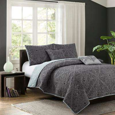 Bastille Grey 5-Piece King Quilt Set