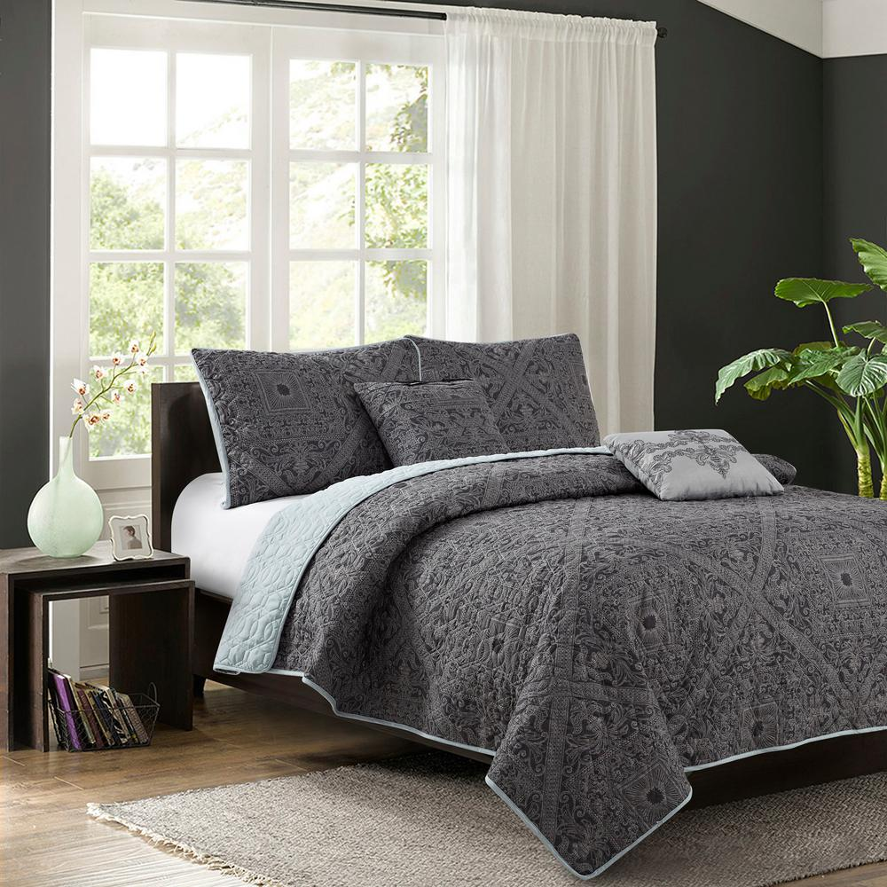 Bastille Grey 5-Piece Full/Queen Quilt Set
