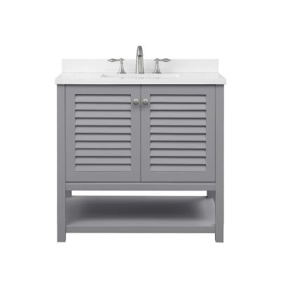 Grace 36 in. W x 22 in. D Bath Vanity in Pebble Grey with Cultured Marble Vanity Top in White with White Basin