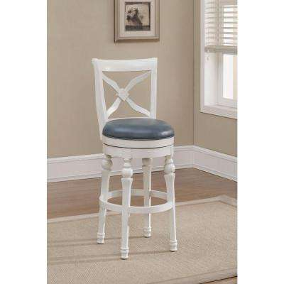 Livingston 30 in. Antique White Cushioned Bar Stool