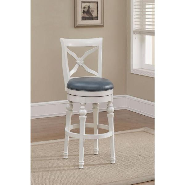 American Heritage Livingston 30 in. Antique White Cushioned Bar Stool 111205
