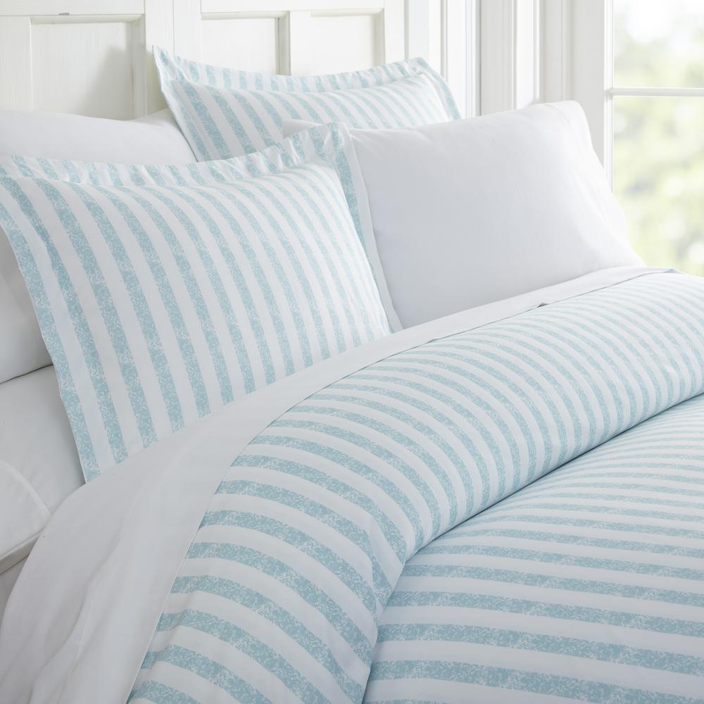 Rugged Stripes Patterned Performance Light Blue Queen 3-Piece Duvet Cover Set