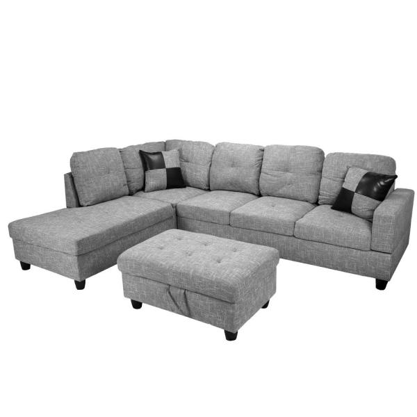 Pleasant Gray Flannelette Left Chaise Sectional With Storage Ottoman Caraccident5 Cool Chair Designs And Ideas Caraccident5Info