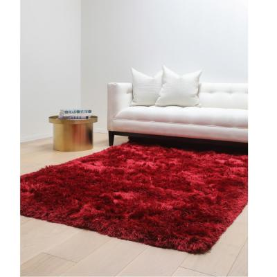 SAMS GOLD IMPORTS Luxe Shag Red 5 ft. x 8 ft. Area Rug