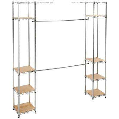 14 in. D x 78 in. W x 84 in. H Chrome Expandable Wire Closet System Organizer