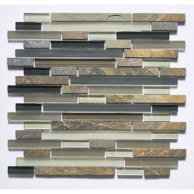 Premium Coffee Express Linear Mosaic 12 in. x 12 in. Glass and Stone Wall Tile (11 sq. ft.)