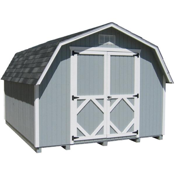 Classic Gambrel 10 ft. x 10 ft. Wood Storage Building DIY Kit with 4 ft. Sidewalls with Floor