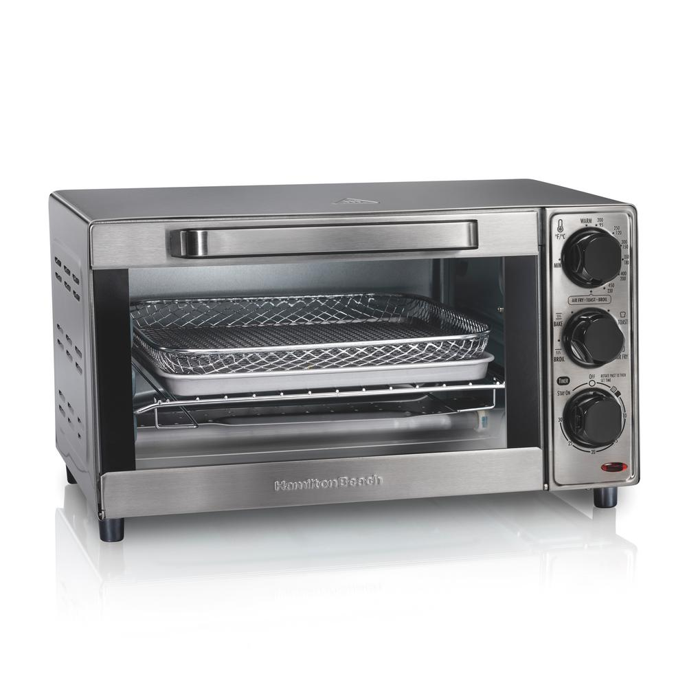 Hamilton Beach Sure Crisp 1120 W 4-Slice Stainless Steel Toaster Oven with Air Fry, Silver -  31403