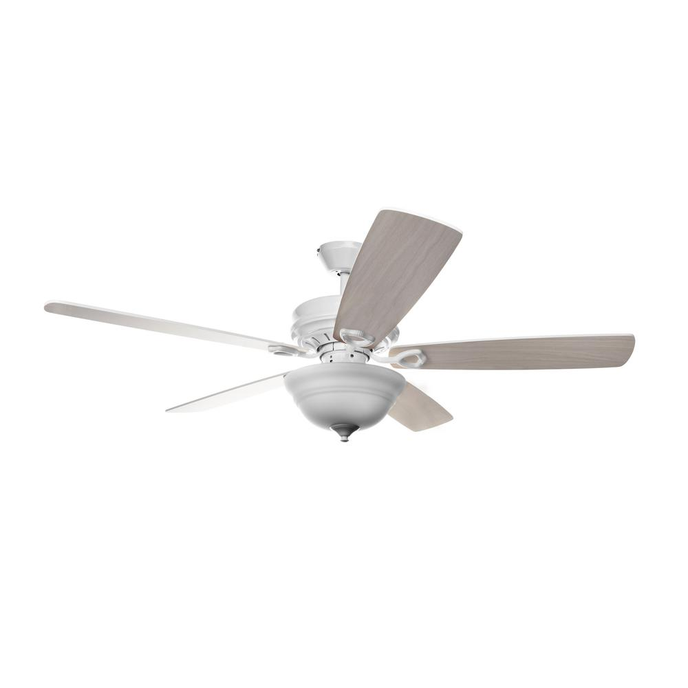 Hyperikon Dome 42 in. Indoor White Wood Semi-Flush Ceiling Fan With Light Kit and Remote Control