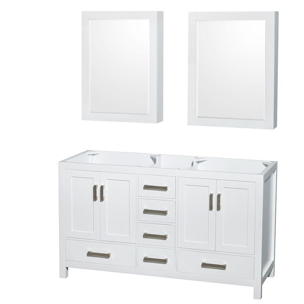 Wyndham Collection Sheffield 59 in. Double Vanity Cabinet with Medicine Cabinets and Mirror in White