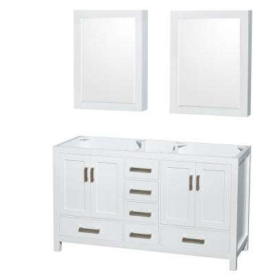 Sheffield 59 in. Double Vanity Cabinet with Medicine Cabinets and Mirror in White