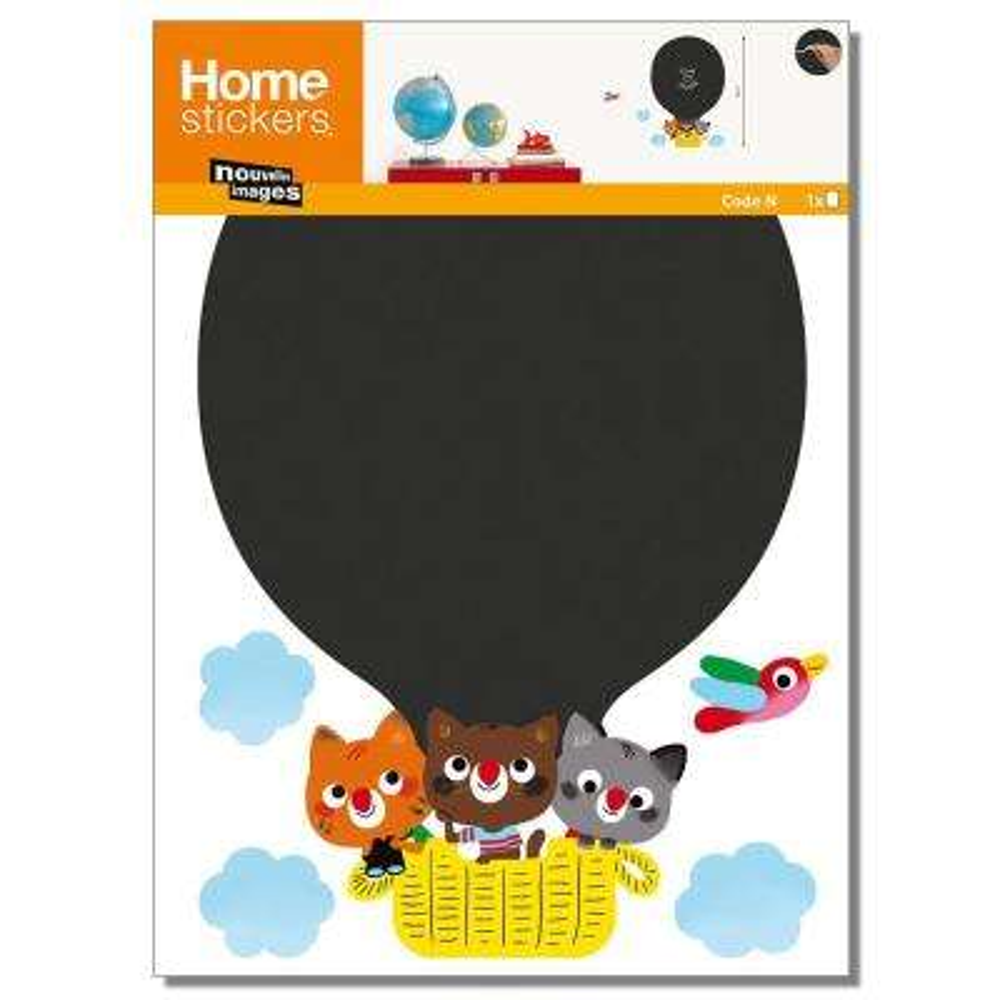 Multicolor Hot Air Balloon/Chalk Board Home Sticker