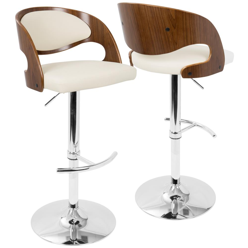 Lumisource Pino Adjule Height Walnut And Cream Faux Leather Bar Stool