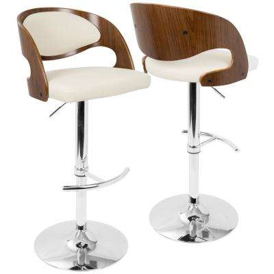 Pino Adjustable Height Walnut and Cream Faux Leather Bar Stool