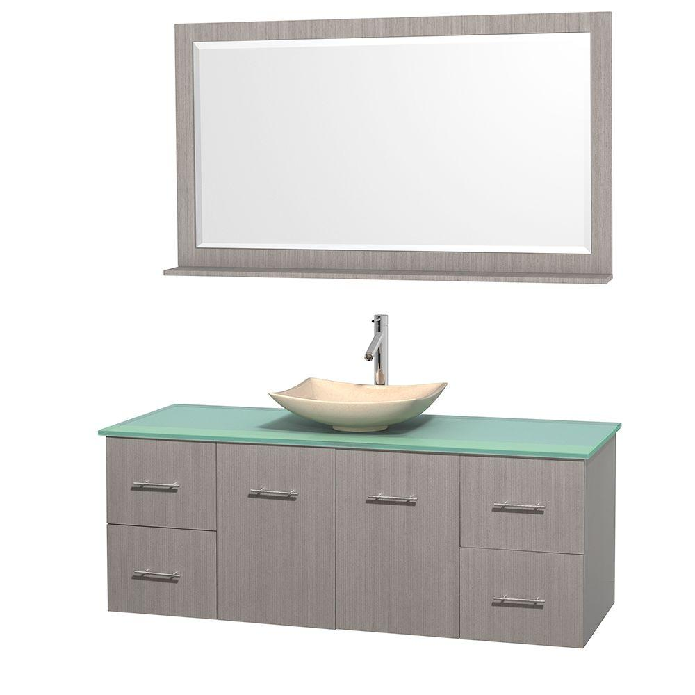 Centra 60 in. Vanity in Gray Oak with Glass Vanity Top