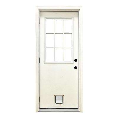 32 in. x 80 in. Classic 9 Lite RHOS White Primed Textured Fiberglass Prehung Front Door with Small Cat Door