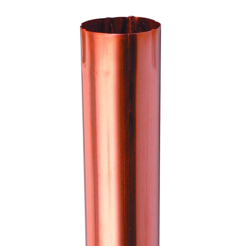 Amerimax 4 in. Half Round Copper (Brown) Plain Downspout