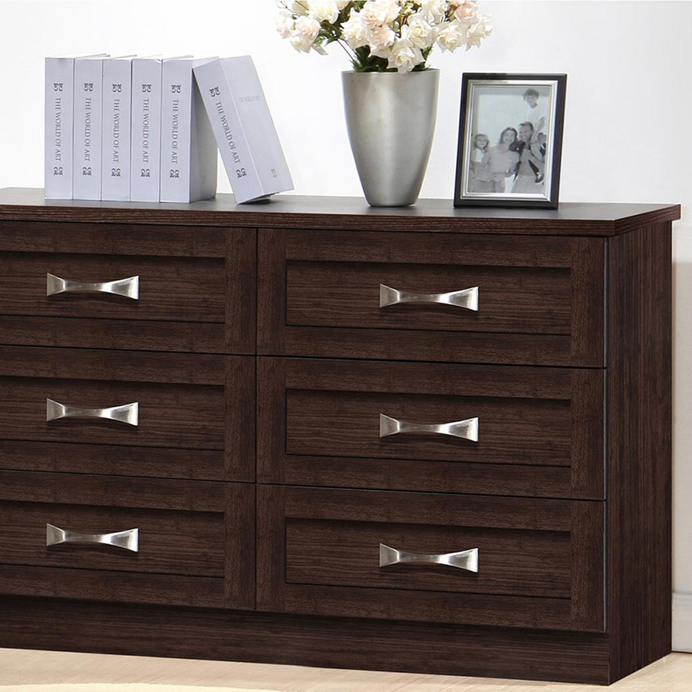 Baxton Studio Colburn 6 Drawer Dark Brown Wood Dresser