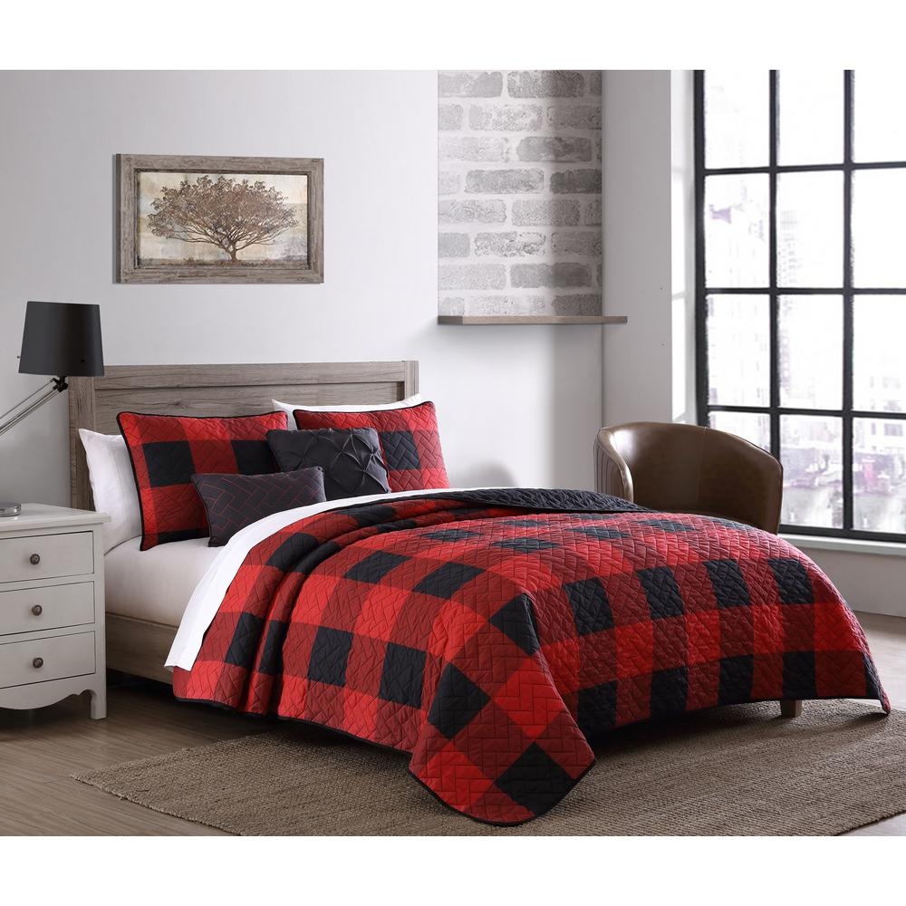 Buffalo Plaid 7-Piece Red and Black King Bed in a Bag