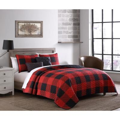 Buffalo Plaid 5-Piece Red and Black Twin Bed in a Bag