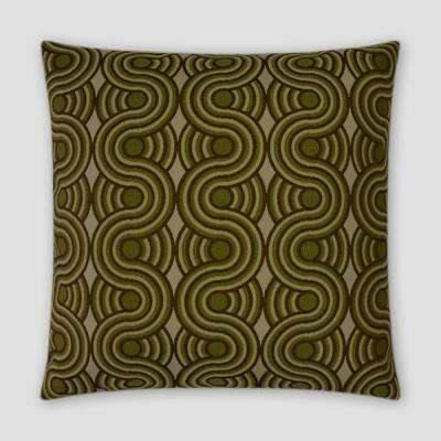 Groove Green Feather Down 18 in. x 18 in. Standard Decorative Throw Pillow