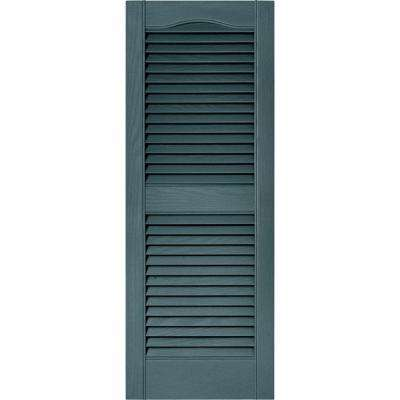 15 in. x 39 in. Louvered Vinyl Exterior Shutters Pair in #004 Wedgewood Blue