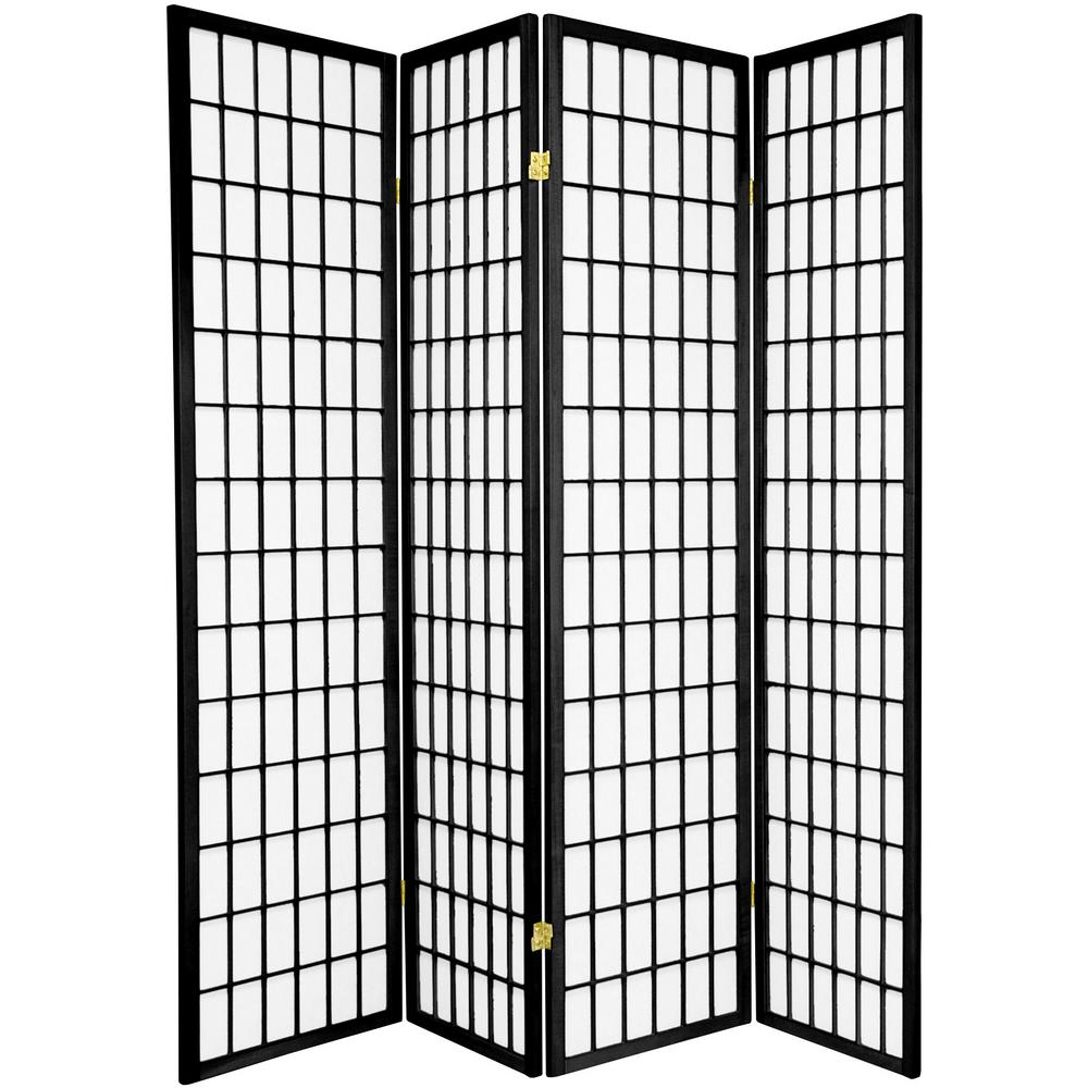 6 ft. Black 4-Panel Room Divider