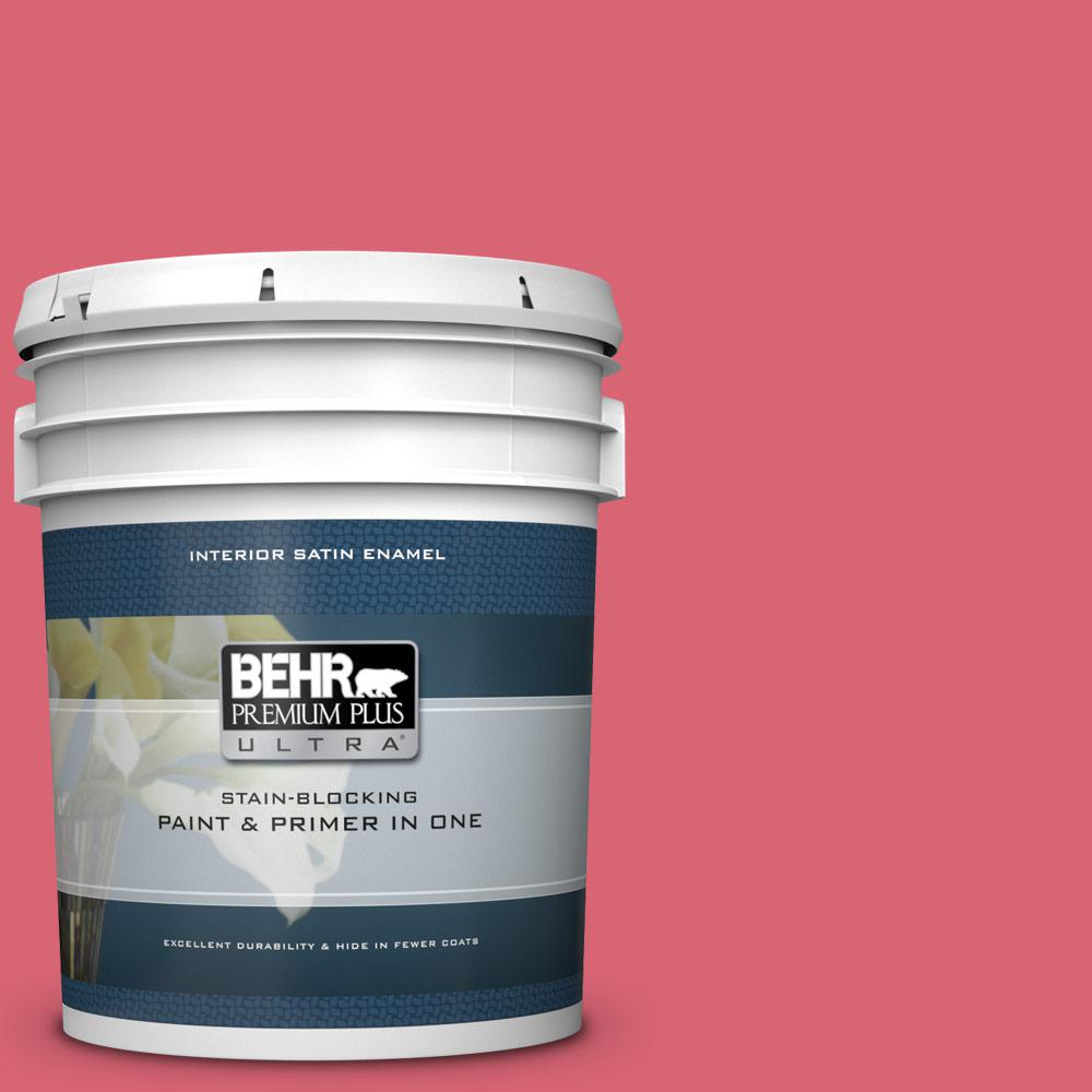 Behr Premium Plus Ultra 5 Gal P150 5 Kiss And Tell Satin Enamel Interior Paint And Primer In One 775405 The Home Depot