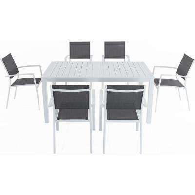 Palmero 7-Piece Aluminum Outdoor Dining Set with 6-Sling Chairs in Gray/White and a 78 in. x 40 in. Dining Table
