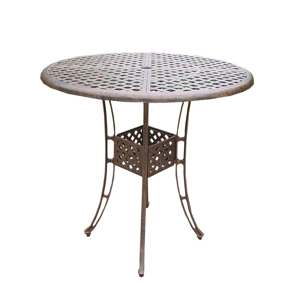 Oakland Living Elite Cast Aluminum Round Patio Bar Height Dining Table HD1101 AB