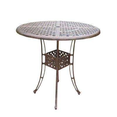 Elite Cast Aluminum Round Patio Bar Height Dining Table