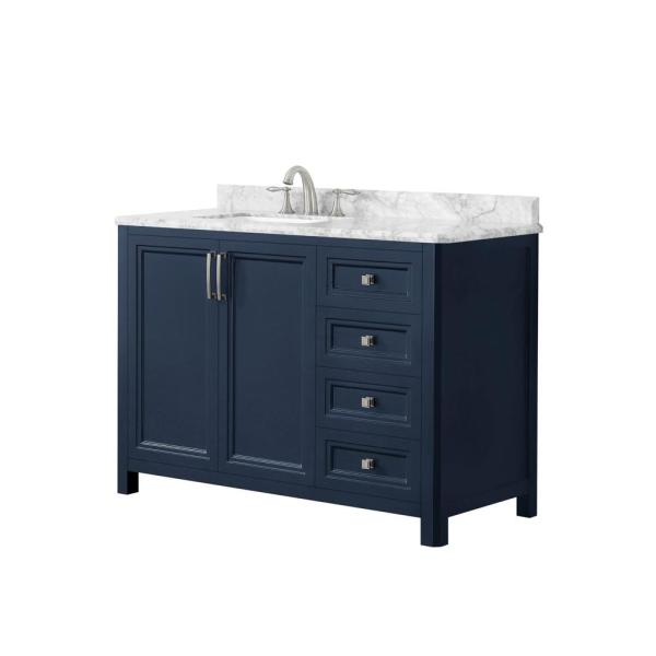 Home Decorators Collection Sandon 48 In W X 22 In D Bath Vanity In Midnight Blue With Marble Vanity Top In Carrara White With White Basin Sandon 48mb The Home Depot