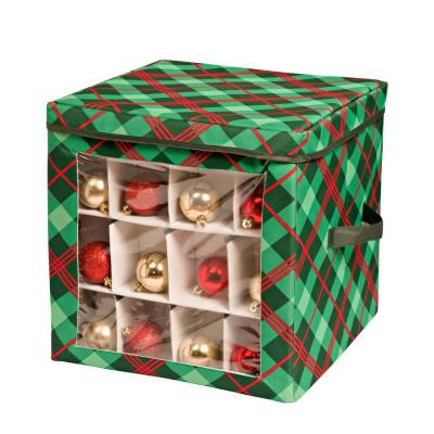 Red and Green Plaid Ornament Storage Cube (48-Ornaments)