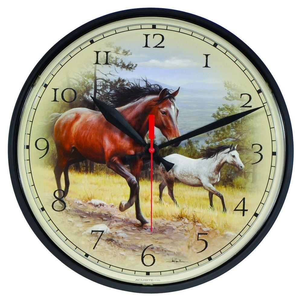AcuRite 12.5 in. Horses Wall Clock
